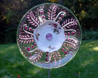 Repurposed Garden art, handmade Garden Sculpture, Repurposed Décor and Glass Yard Art sun catcher with recycled glassware