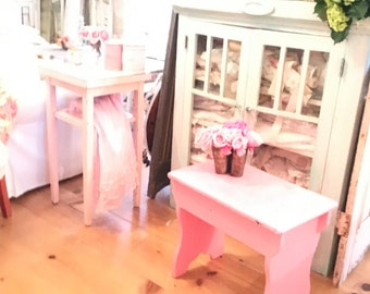 Bench table Chippy pink bench farmhouse cottage romantic vintage shabby chic prairie