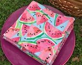 Picnic Lunch  Napkins Watermelon reversible Set of 4