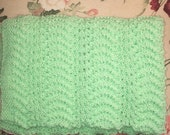 NEW ITEM!!! Hand Knit Baby Blanket - Mint Green