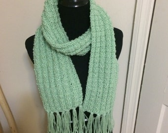 Hand Knit Scarf - Celery Green