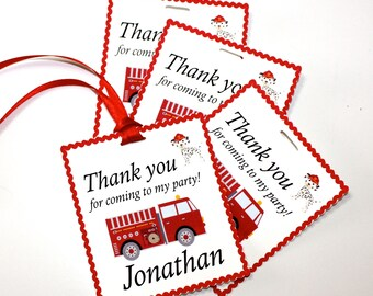 Set of 12 Personalized Fire Truck Thank You Party Favor Tags, Happy Birthday Party, Firetruck, Party Decorations, Party Paper and Supplies