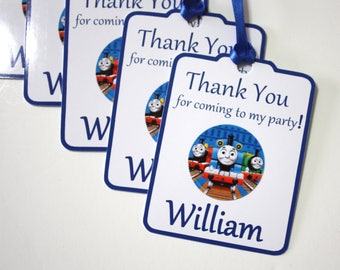 Set of 12 Thank You Party Favor Tags, Thomas Tank Train Personalized Birthday Party Favors Tags Thank You Gift Tags, Custom Party Supplies
