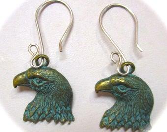 Eagle Earrings, Sterling Silver Ear Wires