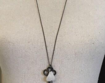 Vintage skeleton key with rose quartz  nugget necklace
