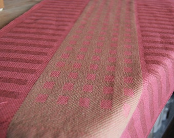 Handwoven Tea Towel- Squares & Stripes Cotton/Linen  Ginger/Brick/Hot Coral