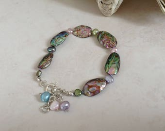Abalone Shell and Freshwater Cultured Pearl Sterling Silver Bracelet
