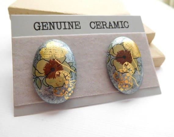 Vintage Genuine Ceramic Blue Gold Brown Flower Oval Pierced Earrings J12
