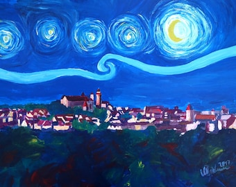 Starry Night In Nuremberg - Van Gogh Inspirations With Imperial Castle and Skyline - Limited Edition Fine Art Print - Original Available