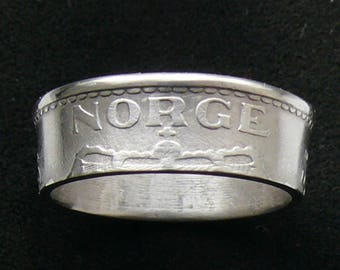 1956 Norway 1 Krone Coin Ring, Ring Size 8 1/2 and Double Sided