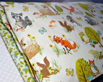 Toddler Duvet Cover, Crib Duvet Cover, Nursery Bedding, Forest Animal Bedding