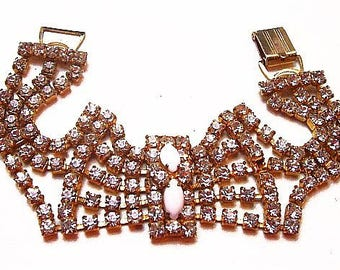 "Rhinestone Link Bracelet Gold Metal Wedding Prom 7.5"" Vintage"