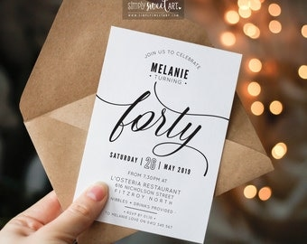 BY344 DIGITAL 40th Birthday Party Invitation - FORTY modern minimal scripted invite | simple stylish black & white printable 21st 50th 60th