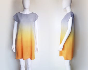 Hand dyed Silk Dress SUNRISE ombre pastel spring dress gradient summer dress