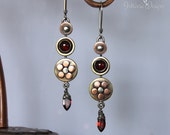 Garnet Daisy Earrings with Sterling Silver, Copper and Brass