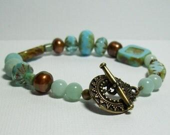 Amazonite and Czech Glass Bracelet. Aqua and Brown Bracelet. Brass Bracelet. Boho.