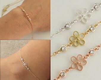 flower bracelet/anklet  with cz charms - flower anklet  - filigree flower - spring jewelry - flower ankle bracelet