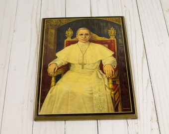 Vintage 1939 Pope Pius XII Wooden Picture Photo Plaque
