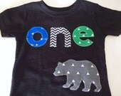 Wild One First Birthday woodland green navy Shirt plaid woodland bear Boys Shirt One or Onesie