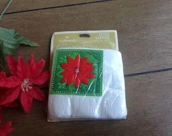 Vintage Hallmark Christmas Coaster Napkins in Original Packaging Pretty Red Poinsettia 15 Petite Napkins