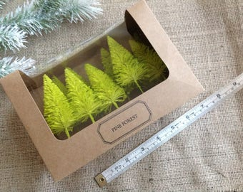 Set of 8 Lime Green Modern Bottle Brush Trees Pine Forest from Kirkland Stores Start your Christmas Crafts Early