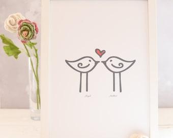 Personalised Valentine Love Birds Print