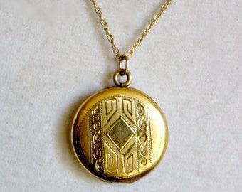 Antique Gold Filled Locket, Round Victorian Gold Locket, Etched Gold Fill Victorian Locket