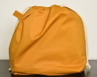 knitting project drawstring bag - large - golden yellow
