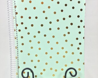Bullet Journal, Planner - Light Green and Gold Bullet Journal, Planner, Notebook