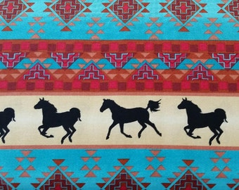 Wild West Native American/ American Indian Fabric by the yard, Southwest fabric, geometric, horse fabric