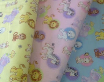 Zoo animal blue Flannel fabric, baby blanket fabric, quilting flannel, lion, zebra, elephant, monkey