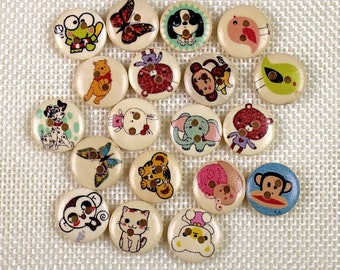 """30 PC Painted wood buttons 15mm - Wooden Buttons ,tree buttons, natural wood buttons """"animal """" A057"""