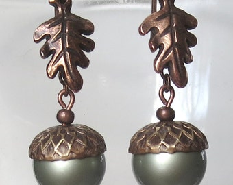 Powder Green Pearl, Brass and Antique Copper Acorn and Oak Leaf Earrings