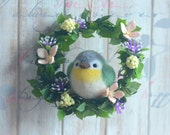 Needle felted green bird on mini wreath for Amber Chen