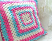 """RESERVED Granny cushion cover, pastel crochet pillow case, handmade Swedish , turquoise and cerise, pastel home decor , 16 """" x 16 """""""