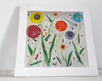 Happy Poppies in Fused Glass - Handcrafted Framed Glass Art