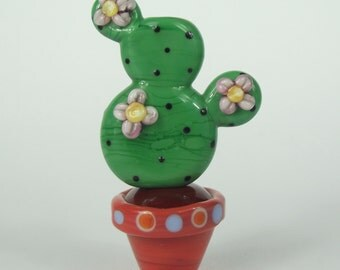 Flowing cactus plant and plant pot beads. Lampwork glass SRA