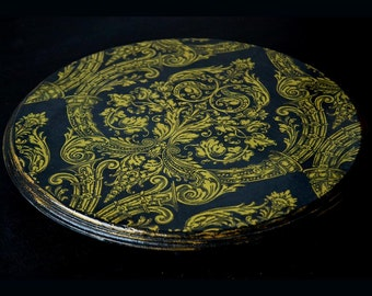 """Cake stand - tray - damask - black and gold - decoupaged - vintage look - low - 11"""" -  cupcake pedestal"""