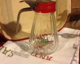 Sugar Pitcher Glass Red Top Vintage