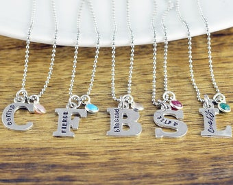 Personalized Initial Necklace, Letter Necklace, Inspirational Necklace, Inspirational Jewelry,Personalized Gift, Hand Stamped Jewelry