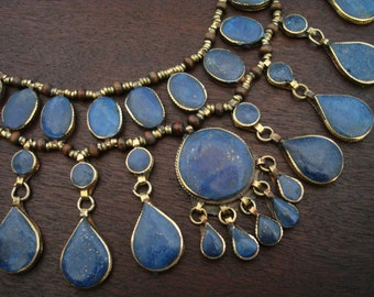 Women's Vintage Afghani Lapis Lazuli Necklace // Tribal Lapis Lazuli Necklace // Yoga, Buddhist, Jewelry