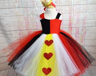 Queen of Hearts inspired Dress,FREE SHIPPING,red,black,white,yellow,crown,queen of hearts,alice in wonderland,girl clothing,girl dress,