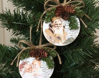 Set of Two Santa Upcycled Mini CD Christmas Ornaments