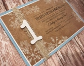 CUSTOM LISTING - Stella - 23 - Winter ONEderland Invitation with Candle for a Boy