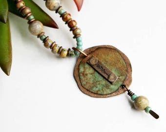 Tree Mixed Media Necklace, Mixed Media Jewelry, Beaded Jewelry, Green Necklace, Stamped Necklace, Stamped Jewelry, Stamped Metal, Bohemian
