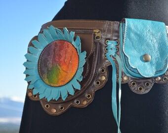 Jerry Garcia Rainbow leather utility belt xs