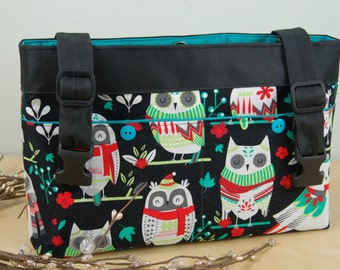 Powerchair - Walker Bag: Baby it's Cold Outside!!!  Fun Wintery Owl print with bright turquoise lining.