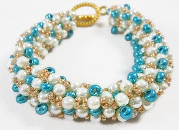 Handmade Beaded Bracelet Pearl Turquoise Gold