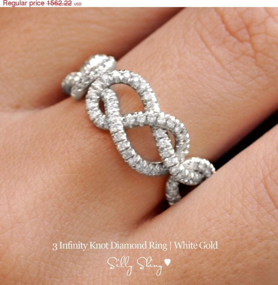 Valentines SALE! Triple Infinity Knot Ring, 0.75 CT Diamond Wedding Band, 14K Gold Wedding Ring, Cluster Ring, Art Deco Ring, Infinity Ring