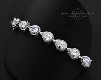 Wedding Bracelet Cubic Zirconia Bridal Jewelry Wedding Jewelry Bracelet Bling  Clear Crystal Sparkly Bridesmaid Gifts B29